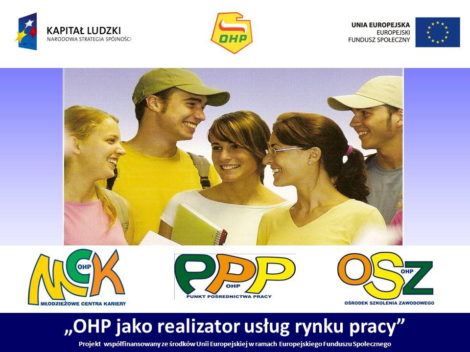 OHP jako realizator usług rynku pracy Projekt współfinansowany ze środków Unii Europejskiej w ramach Europejskiego Funduszu Społecznego Grupowe i indywidualne porady ułatwiające wybór zawodu, zmianę kwalifikacji, podjęcie zatrudnienie Indywidualne i grupowe informacje o możliwościach szkolenie i kształcenia oraz o zawodach i rynku pracy Opracowywanie diagnoz przydatności zawodowej na podstawie zebranego materiału badawczego Gromadzenie, opracowywanie i aktualizowanie informacji o zawodach Prowadzenie dokumentacji osób zgłaszającej się po poradę do doradcy zawodowego Utrzymywanie stałej współpracy z publicznymi służbami zatrudnienia, szkołami gimnazjalnymi i ponad gimnazjalnymi, organizatorami kształcenia i szkolenia zawodowego oraz innymi instytucjami rynku pracy Usługi MCK