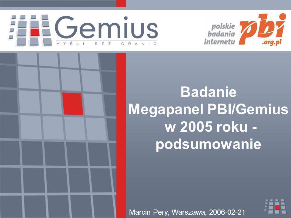 2006-02-21 Marcin Pery / Badanie Megapanel PBI/Gemius w 2005 roku - podsumowanie2 Badanie Megapanel PBI/Gemius w 2005 roku Stan obecny –faktyczny standard –współpraca z całym rynkiem internetowym Rozwój badania - zmiany metodologii –cel zmian –problemy i rozwiązania Podsumowanie