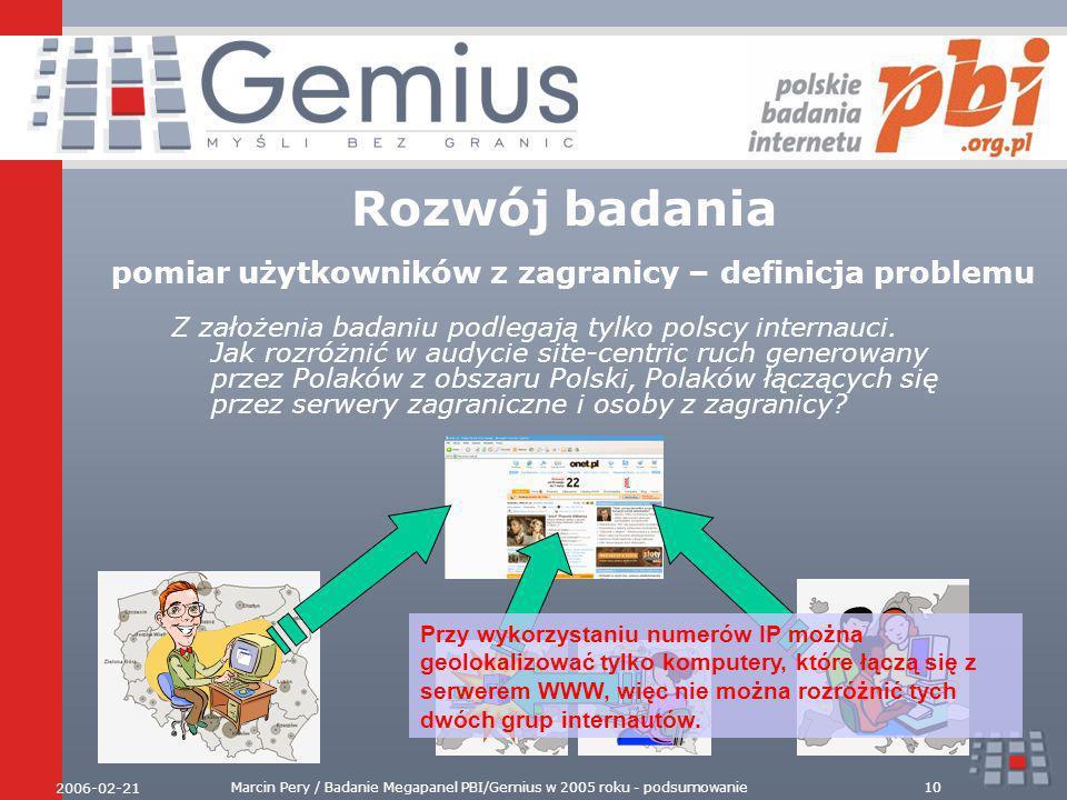 2006-02-21 Marcin Pery / Badanie Megapanel PBI/Gemius w 2005 roku - podsumowanie10 Rozwój badania pomiar użytkowników z zagranicy – definicja problemu Z założenia badaniu podlegają tylko polscy internauci.