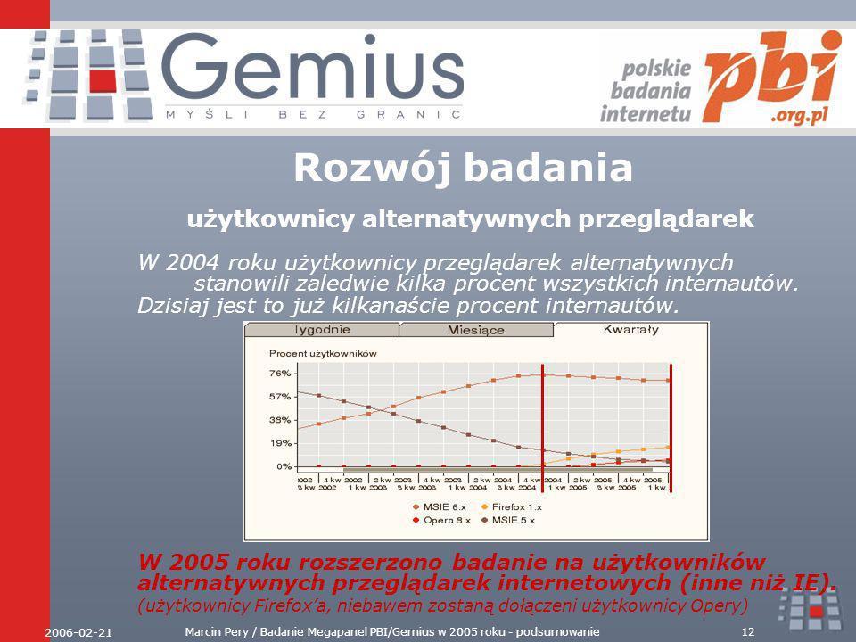 2006-02-21 Marcin Pery / Badanie Megapanel PBI/Gemius w 2005 roku - podsumowanie12 Rozwój badania użytkownicy alternatywnych przeglądarek W 2004 roku użytkownicy przeglądarek alternatywnych stanowili zaledwie kilka procent wszystkich internautów.