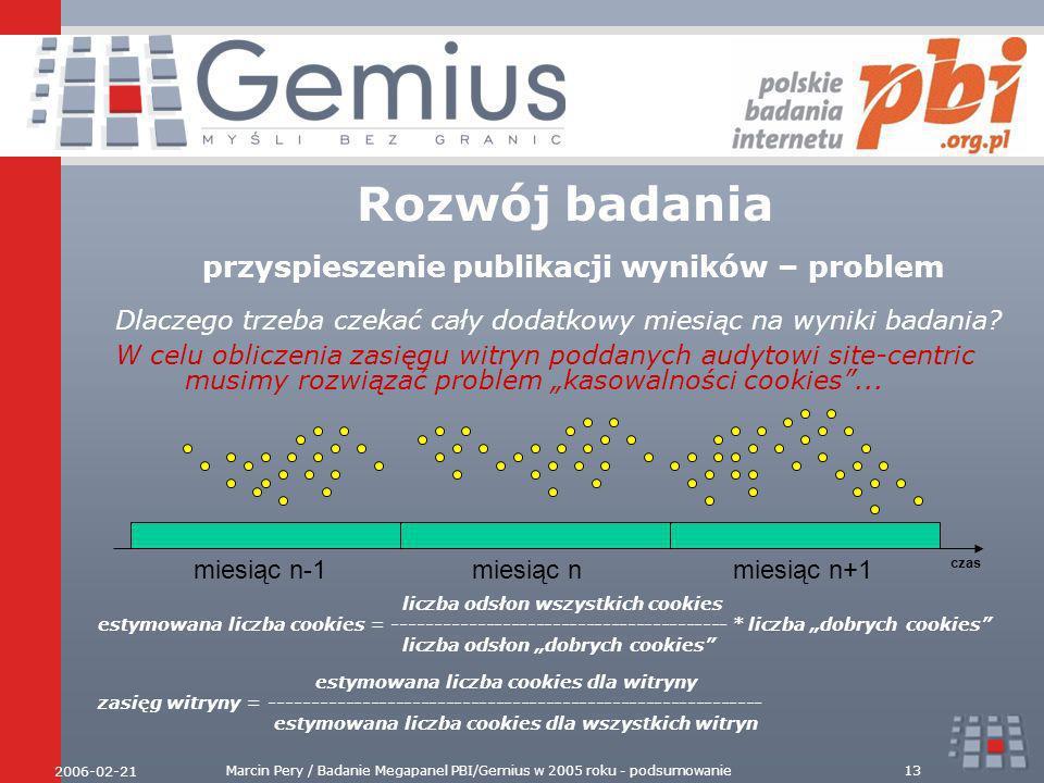 2006-02-21 Marcin Pery / Badanie Megapanel PBI/Gemius w 2005 roku - podsumowanie13 Rozwój badania przyspieszenie publikacji wyników – problem liczba odsłon wszystkich cookies estymowana liczba cookies = ---------------------------------------- * liczba dobrych cookies liczba odsłon dobrych cookies Dlaczego trzeba czekać cały dodatkowy miesiąc na wyniki badania.