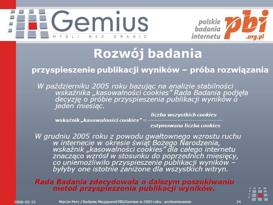2006-02-21 Marcin Pery / Badanie Megapanel PBI/Gemius w 2005 roku - podsumowanie14 Rozwój badania przyspieszenie publikacji wyników – próba rozwiązania W październiku 2005 roku bazując na analizie stabilności wskaźnika kasowalności cookies Rada Badania podjęła decyzję o próbie przyspieszenia publikacji wyników o jeden miesiąc.