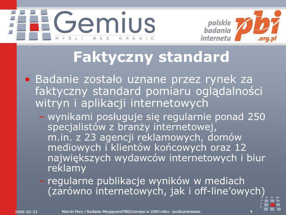 2006-02-21 Marcin Pery / Badanie Megapanel PBI/Gemius w 2005 roku - podsumowanie5 Stan badania Stabilny panel ponad 20 tysięcy internautów Badanych jest ponad 4000 witryn polskich i zagranicznych Większość polskich witryn sprzedających powierzchnię reklamową podłączonych zostało do audytu site-centric - badania gemiusTraffic Stała współpraca z wszystkimi największymi podmiotami na rynku wydawców –portalami, wyszukiwarkami, sieciami reklamowymi, witrynami tematycznymi –regularne generowanie drzewek agregatów na zlecenie sieci reklamowych i biur sprzedaży Efektywna działalność Rady Badania