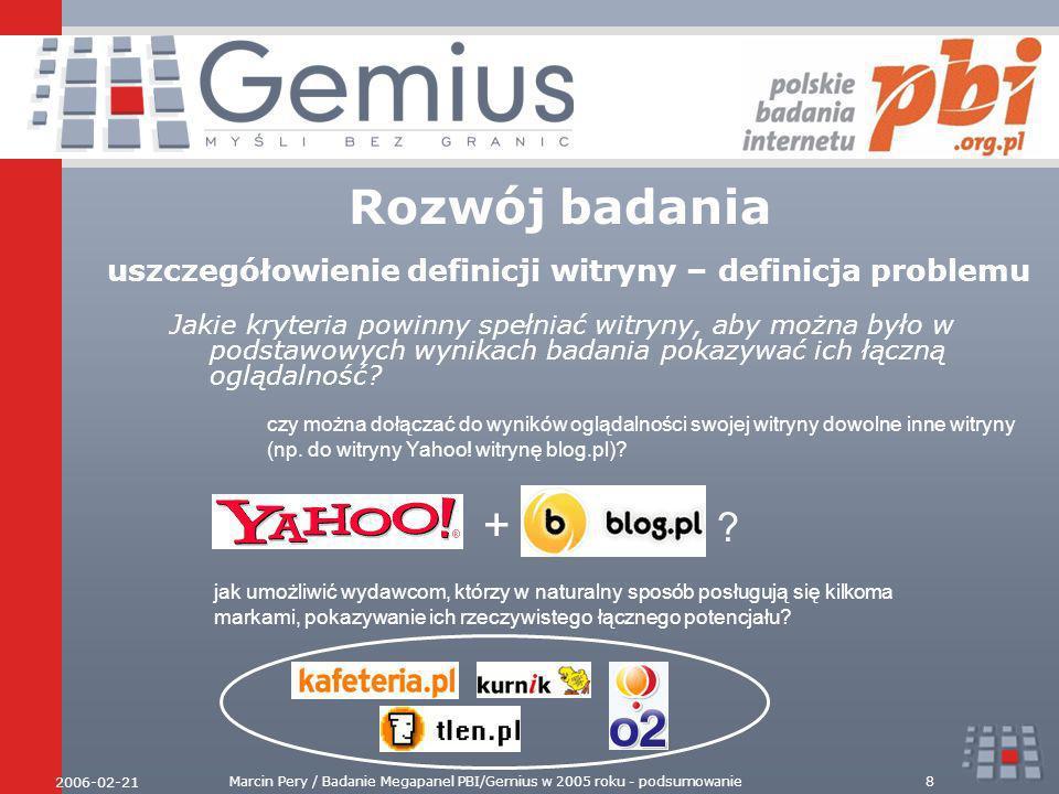 2006-02-21 Marcin Pery / Badanie Megapanel PBI/Gemius w 2005 roku - podsumowanie9 Rozwój badania uszczegółowienie definicji witryny – rozwiązanie Decyduje własność domeny – kryterium obiektywne i weryfikowalne w publicznych bazach WHOIS o2.pl kafeteria.pl tlen.pl