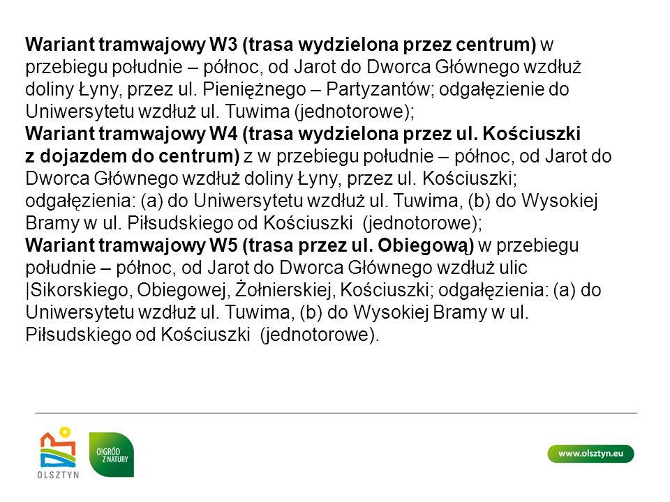Wariant tramwajowy W3 (trasa wydzielona przez centrum) w przebiegu południe – północ, od Jarot do Dworca Głównego wzdłuż doliny Łyny, przez ul. Pienię