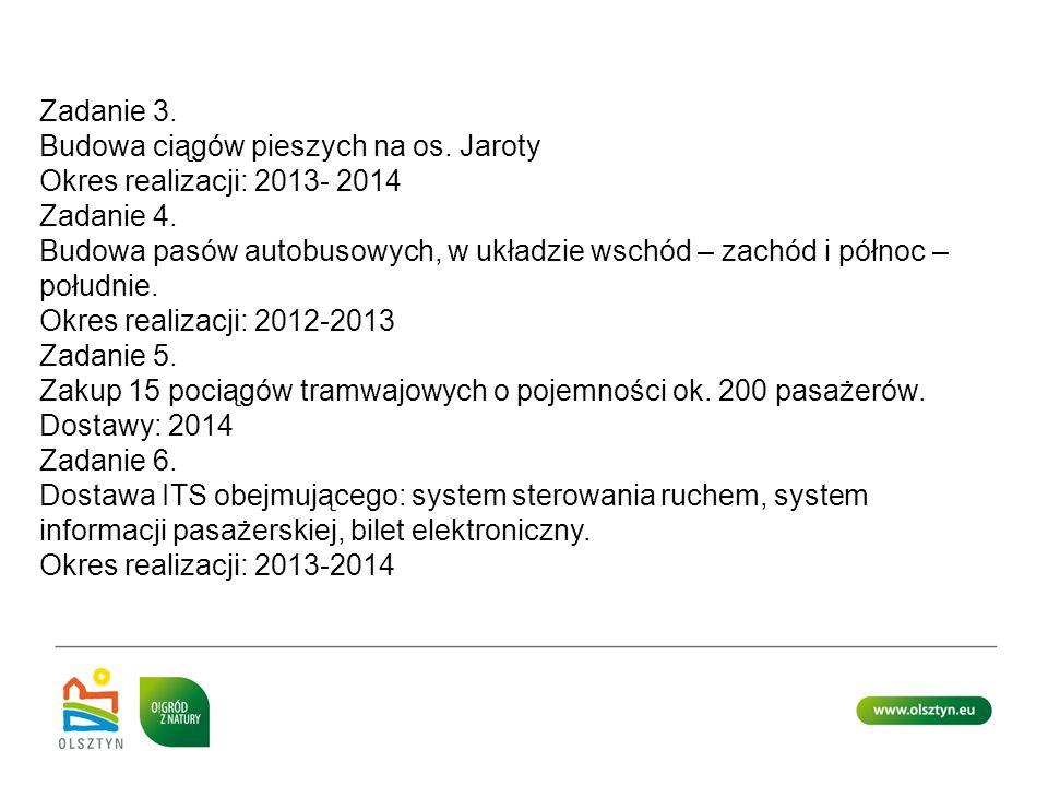 Zadanie 3. Budowa ciągów pieszych na os. Jaroty Okres realizacji: 2013- 2014 Zadanie 4. Budowa pasów autobusowych, w układzie wschód – zachód i północ