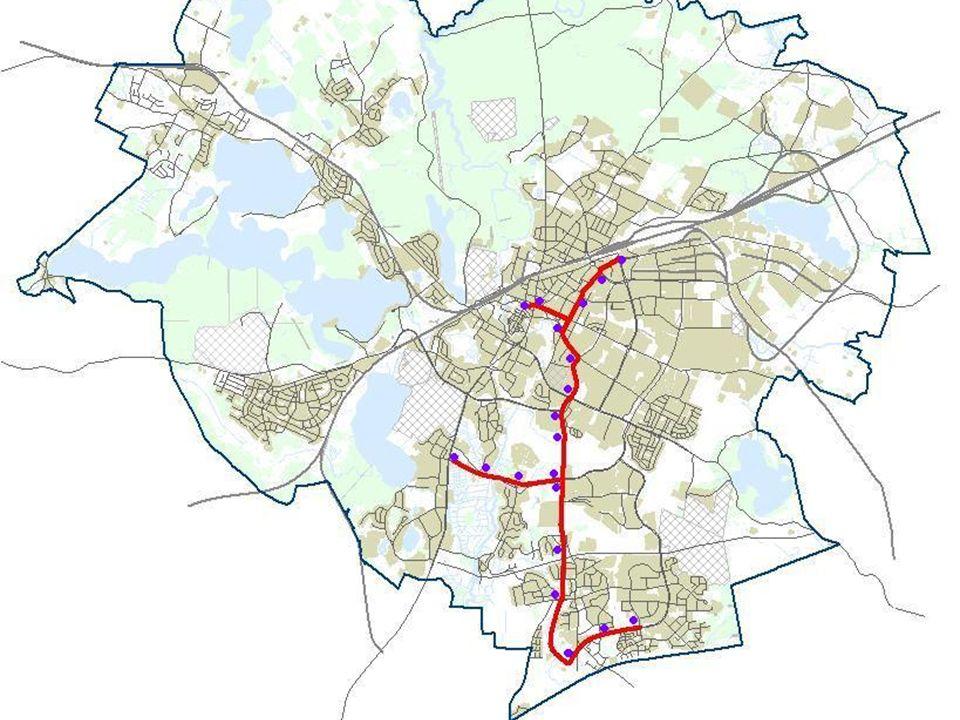 Wariant tramwajowy W3 (trasa wydzielona przez centrum) w przebiegu południe – północ, od Jarot do Dworca Głównego wzdłuż doliny Łyny, przez ul.