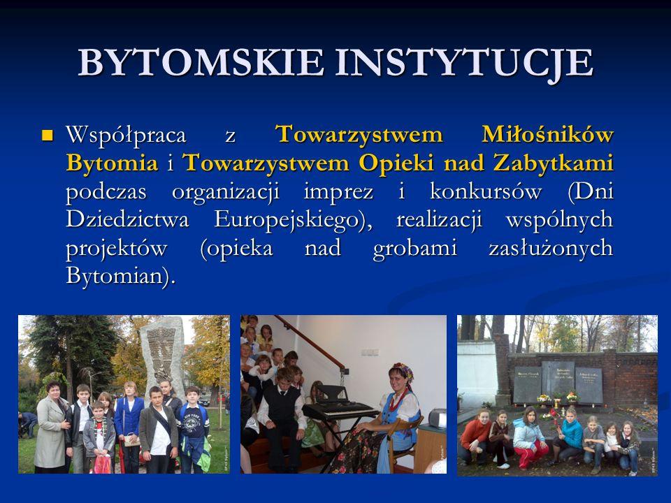 BYTOMSKIE INSTYTUCJE Współpraca z Towarzystwem Miłośników Bytomia i Towarzystwem Opieki nad Zabytkami podczas organizacji imprez i konkursów (Dni Dziedzictwa Europejskiego), realizacji wspólnych projektów (opieka nad grobami zasłużonych Bytomian).