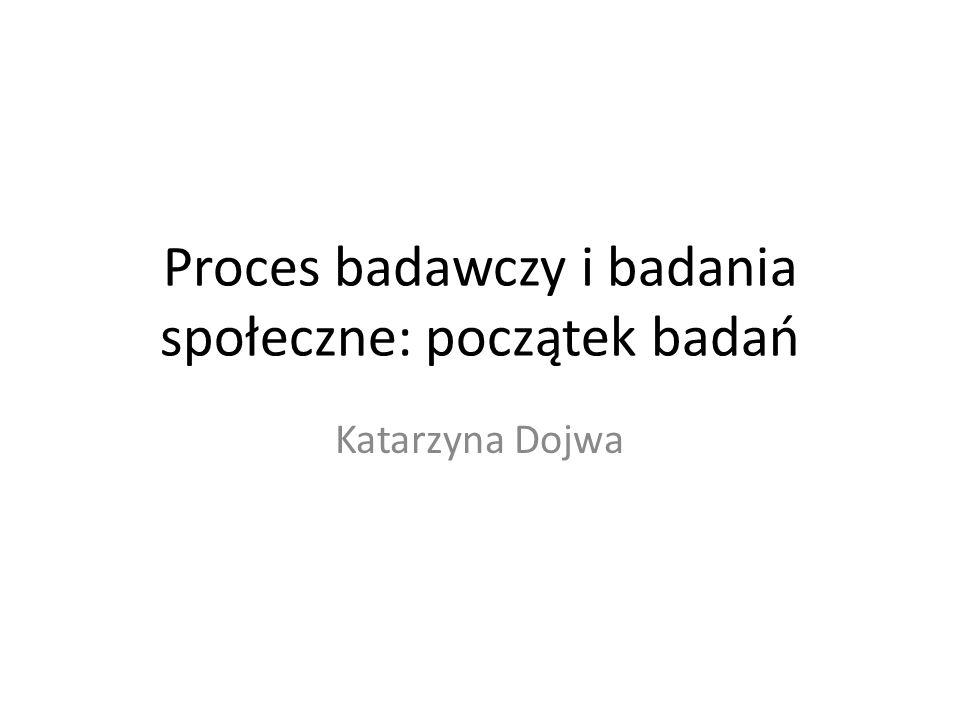 Proces badawczy i badania społeczne: początek badań Katarzyna Dojwa