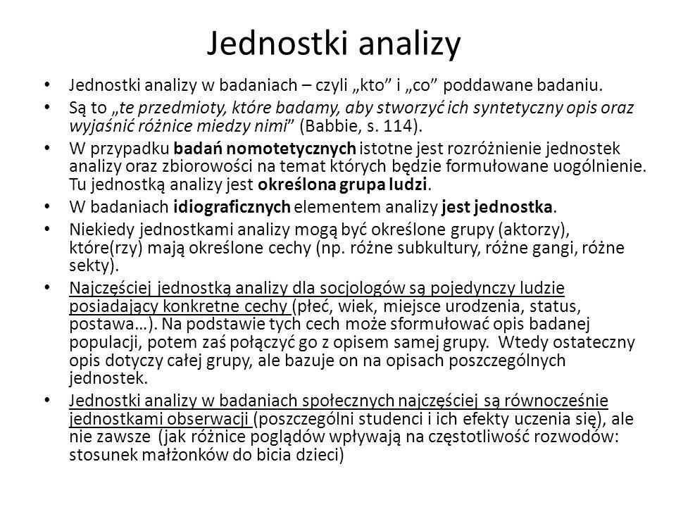 Jednostki analizy Jednostki analizy w badaniach – czyli kto i co poddawane badaniu. Są to te przedmioty, które badamy, aby stworzyć ich syntetyczny op