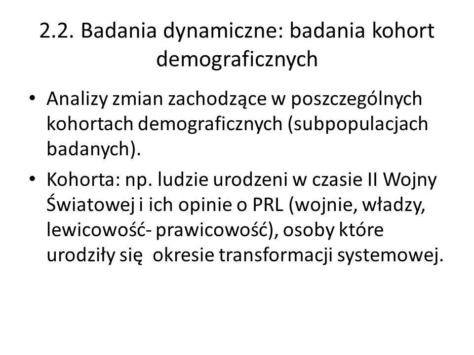 2.2. Badania dynamiczne: badania kohort demograficznych Analizy zmian zachodzące w poszczególnych kohortach demograficznych (subpopulacjach badanych).
