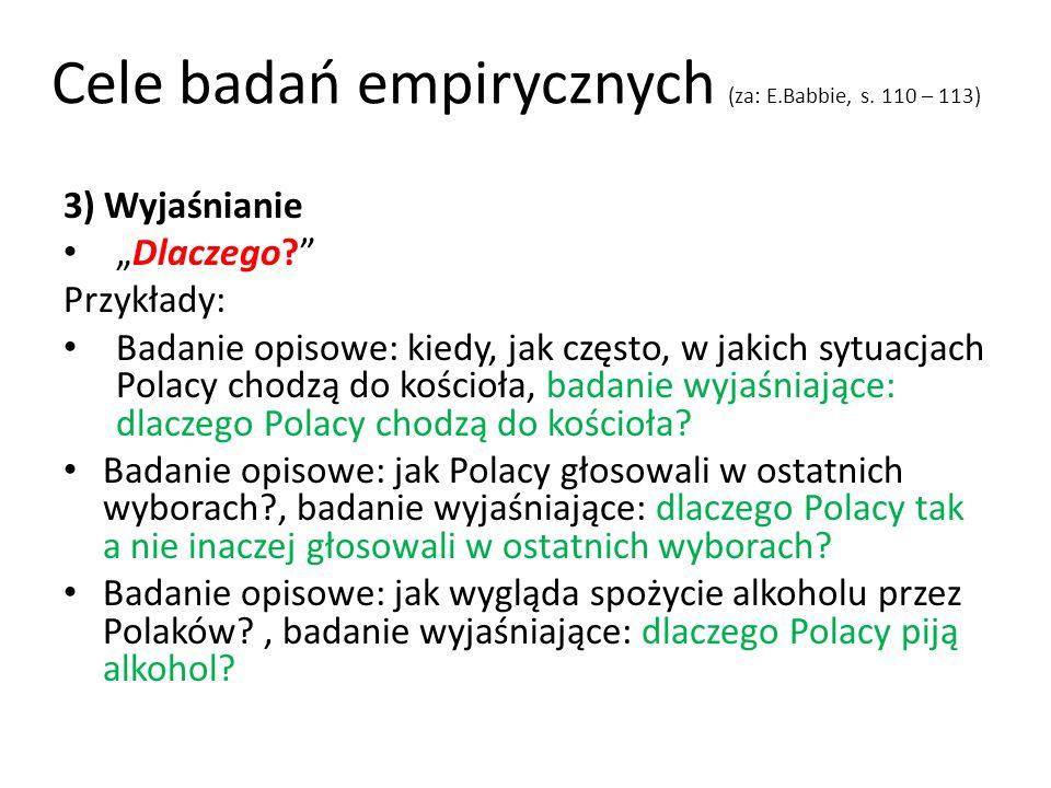 Cele badań empirycznych (za: E.Babbie, s. 110 – 113) 3) Wyjaśnianie Dlaczego? Przykłady: Badanie opisowe: kiedy, jak często, w jakich sytuacjach Polac