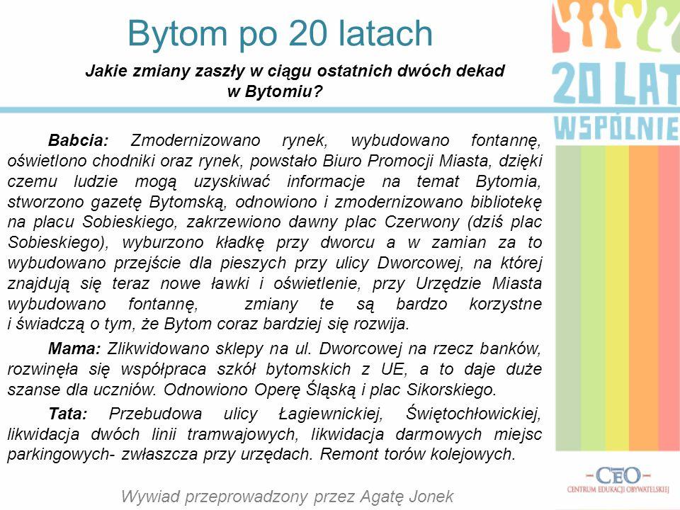 Jakie zmiany zaszły w ciągu ostatnich dwóch dekad w Bytomiu.