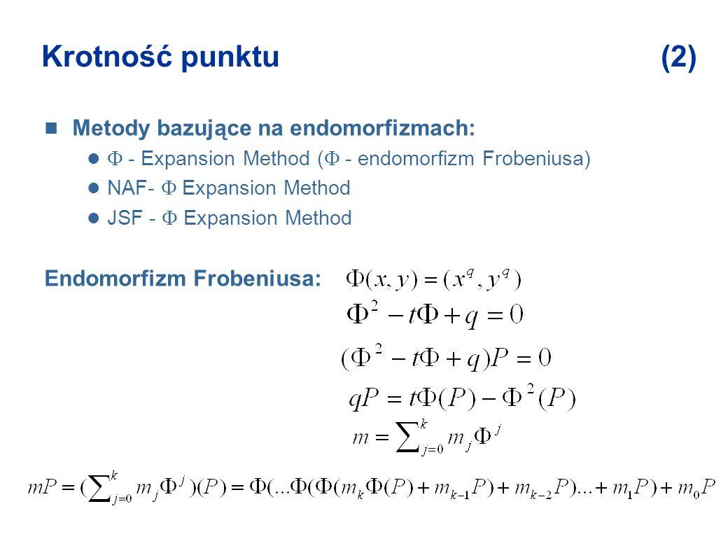 Krotność punktu (2) Metody bazujące na endomorfizmach: - Expansion Method ( - endomorfizm Frobeniusa) NAF- Expansion Method JSF - Expansion Method End