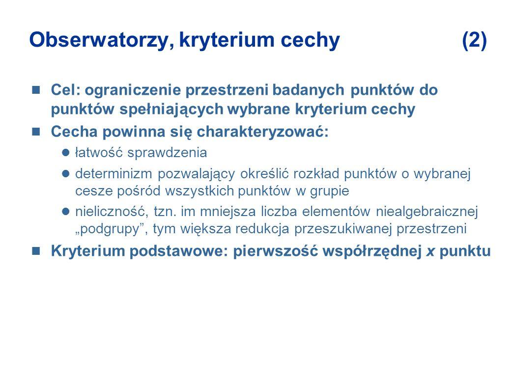 Obserwatorzy, kryterium cechy (2) Cel: ograniczenie przestrzeni badanych punktów do punktów spełniających wybrane kryterium cechy Cecha powinna się ch