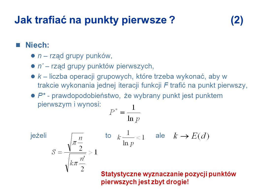 Jak trafiać na punkty pierwsze ? (2) Niech: n – rząd grupy punków, n – rząd grupy punktów pierwszych, k – liczba operacji grupowych, które trzeba wyko