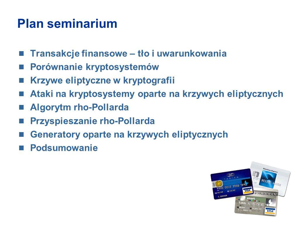 Plan seminarium Transakcje finansowe – tło i uwarunkowania Porównanie kryptosystemów Krzywe eliptyczne w kryptografii Ataki na kryptosystemy oparte na