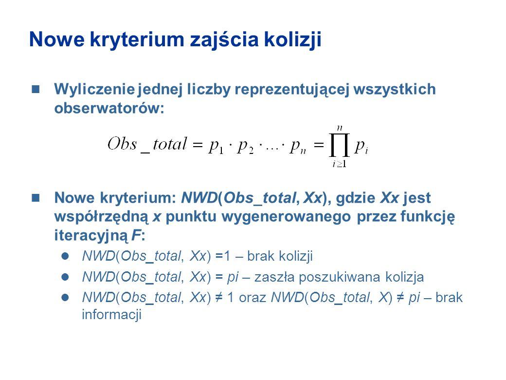 Nowe kryterium zajścia kolizji Wyliczenie jednej liczby reprezentującej wszystkich obserwatorów: Nowe kryterium: NWD(Obs_total, Xx), gdzie Xx jest wsp