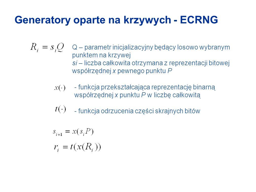 Generatory oparte na krzywych - ECRNG - funkcja przekształcająca reprezentację binarną współrzędnej x punktu P w liczbę całkowitą Q – parametr inicjal