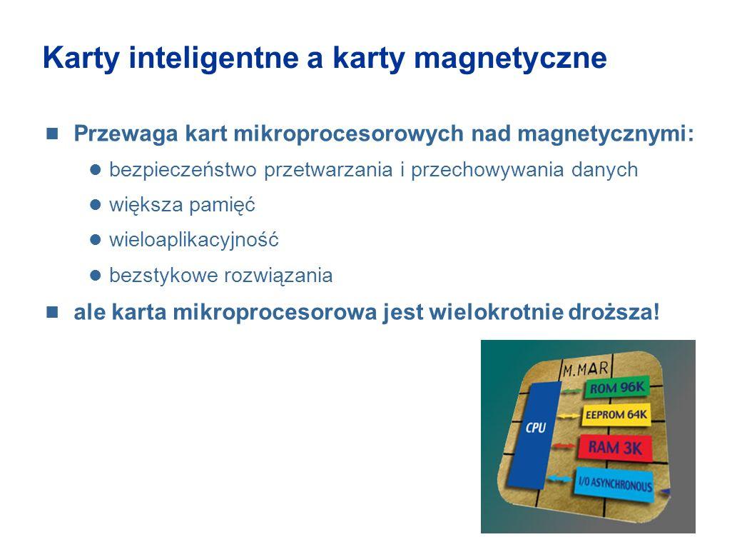 Karty inteligentne a karty magnetyczne Przewaga kart mikroprocesorowych nad magnetycznymi: bezpieczeństwo przetwarzania i przechowywania danych większ