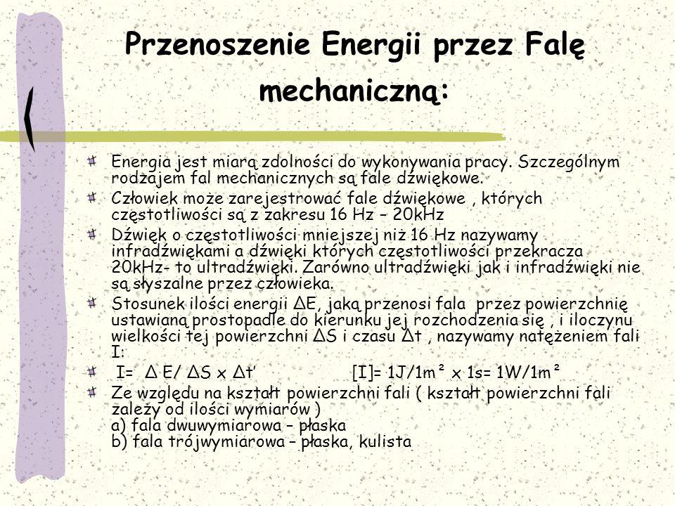 Przenoszenie Energii przez Falę mechaniczną: Energia jest miarą zdolności do wykonywania pracy. Szczególnym rodzajem fal mechanicznych są fale dźwięko