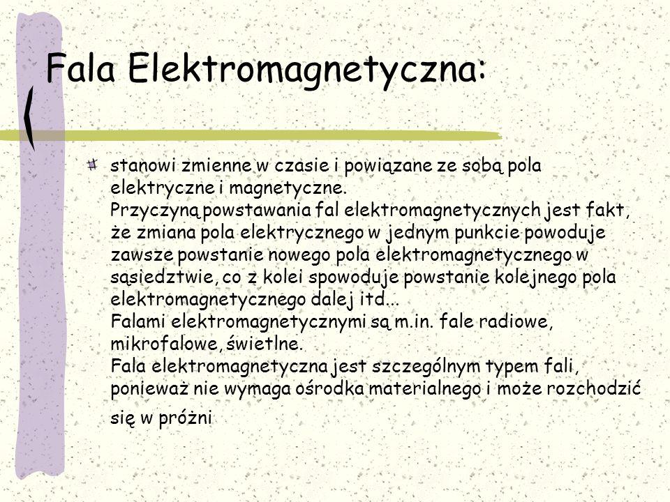 Fala Elektromagnetyczna: stanowi zmienne w czasie i powiązane ze sobą pola elektryczne i magnetyczne. Przyczyną powstawania fal elektromagnetycznych j