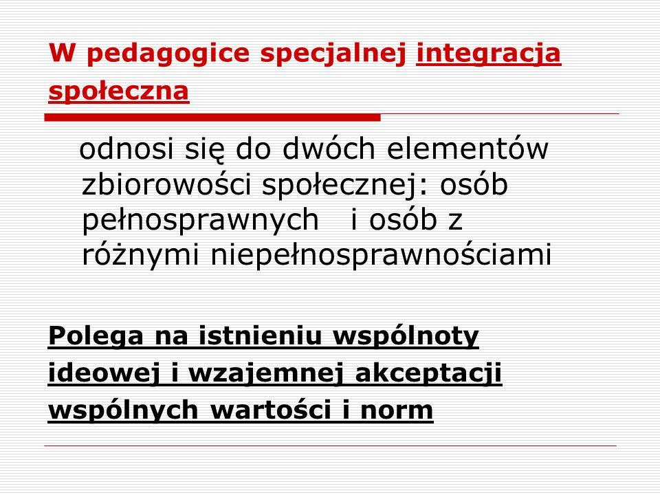 W pedagogice specjalnej integracja społeczna odnosi się do dwóch elementów zbiorowości społecznej: osób pełnosprawnych i osób z różnymi niepełnosprawn