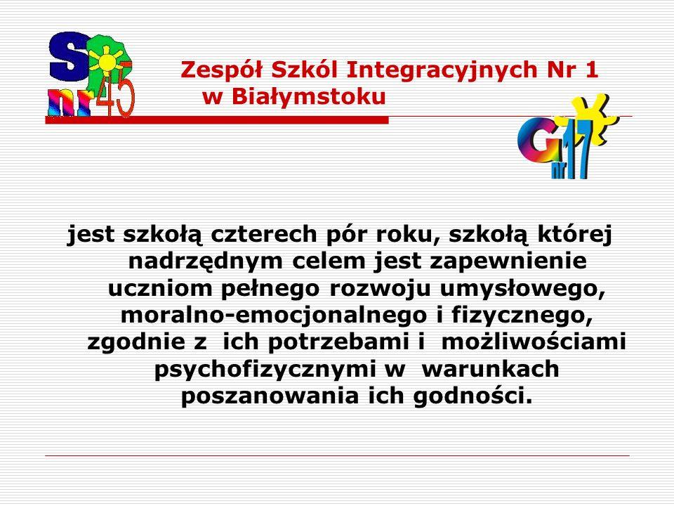 Zespół Szkól Integracyjnych Nr 1 w Białymstoku jest szkołą czterech pór roku, szkołą której nadrzędnym celem jest zapewnienie uczniom pełnego rozwoju