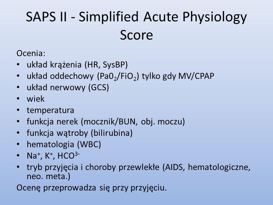SAPS II - Simplified Acute Physiology Score Ocenia: układ krążenia (HR, SysBP) układ oddechowy (Pa0 2 /FiO 2 ) tylko gdy MV/CPAP układ nerwowy (GCS) w