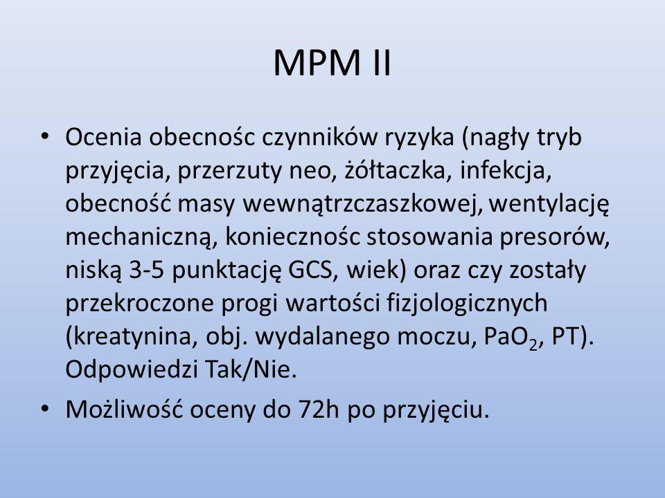 MPM II Ocenia obecnośc czynników ryzyka (nagły tryb przyjęcia, przerzuty neo, żółtaczka, infekcja, obecność masy wewnątrzczaszkowej, wentylację mechan