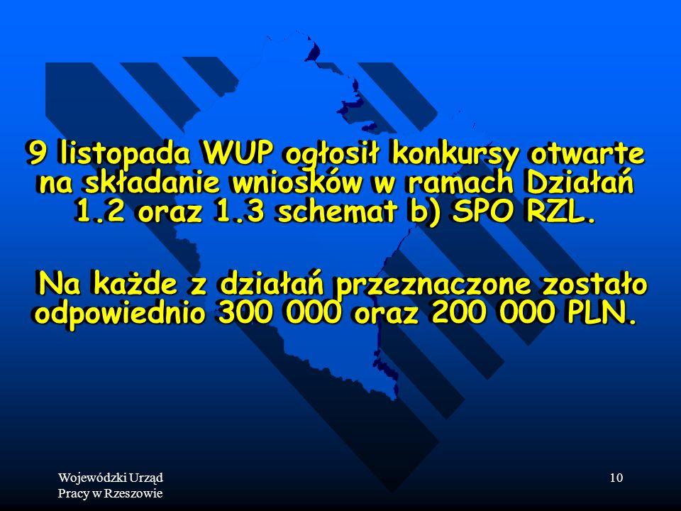 Wojewódzki Urząd Pracy w Rzeszowie 10 9 listopada WUP ogłosił konkursy otwarte na składanie wniosków w ramach Działań 1.2 oraz 1.3 schemat b) SPO RZL.