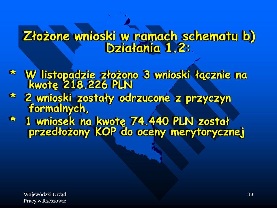Wojewódzki Urząd Pracy w Rzeszowie 13 Złożone wnioski w ramach schematu b) Działania 1.2: * W listopadzie złożono 3 wnioski łącznie na kwotę 218.226 PLN * 2 wnioski zostały odrzucone z przyczyn formalnych, * 1 wniosek na kwotę 74.440 PLN został przedłożony KOP do oceny merytorycznej Złożone wnioski w ramach schematu b) Działania 1.2: * W listopadzie złożono 3 wnioski łącznie na kwotę 218.226 PLN * 2 wnioski zostały odrzucone z przyczyn formalnych, * 1 wniosek na kwotę 74.440 PLN został przedłożony KOP do oceny merytorycznej