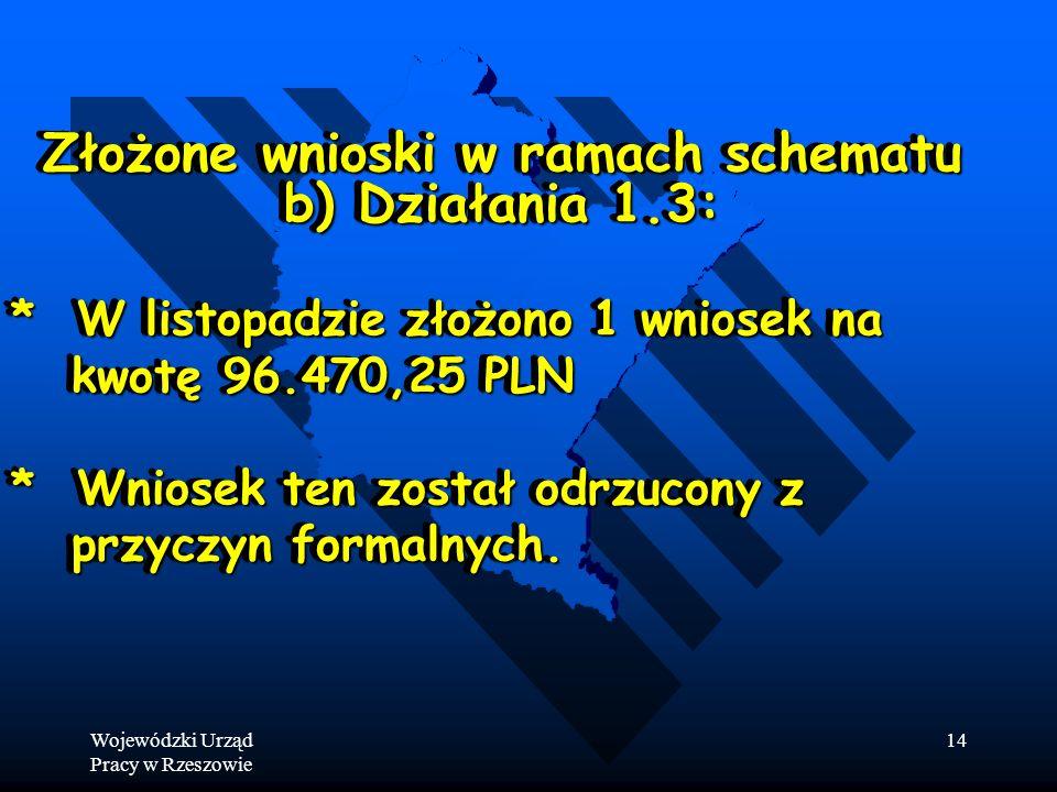 Wojewódzki Urząd Pracy w Rzeszowie 14 Złożone wnioski w ramach schematu b) Działania 1.3: * W listopadzie złożono 1 wniosek na kwotę 96.470,25 PLN kwotę 96.470,25 PLN * Wniosek ten został odrzucony z przyczyn formalnych.