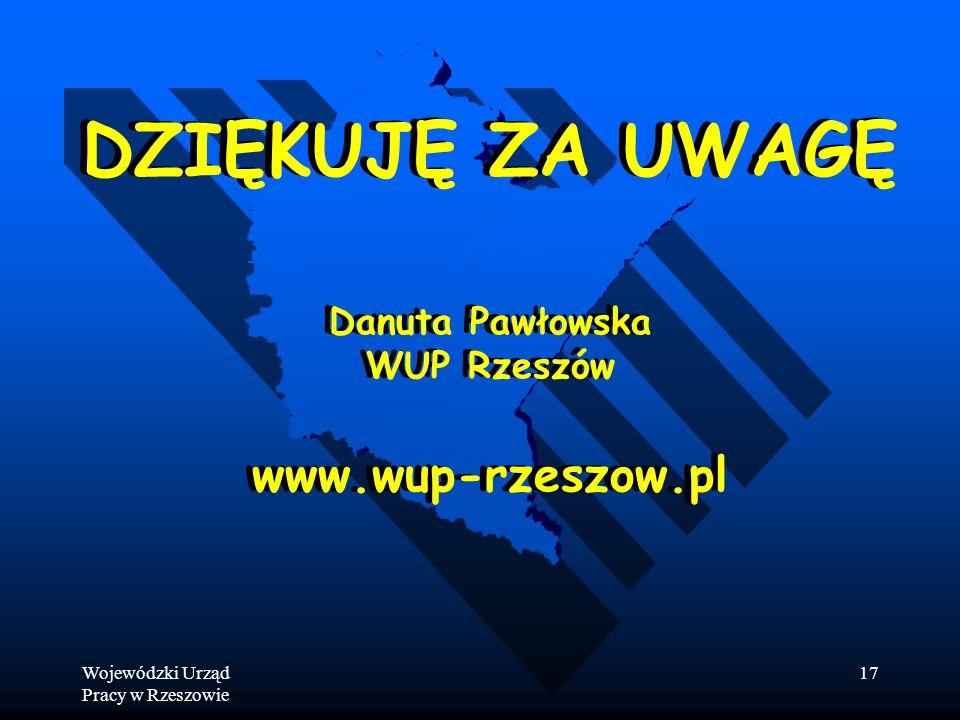 Wojewódzki Urząd Pracy w Rzeszowie 17 DZIĘKUJĘ ZA UWAGĘ Danuta Pawłowska WUP Rzeszów www.wup-rzeszow.pl DZIĘKUJĘ ZA UWAGĘ Danuta Pawłowska WUP Rzeszów www.wup-rzeszow.pl