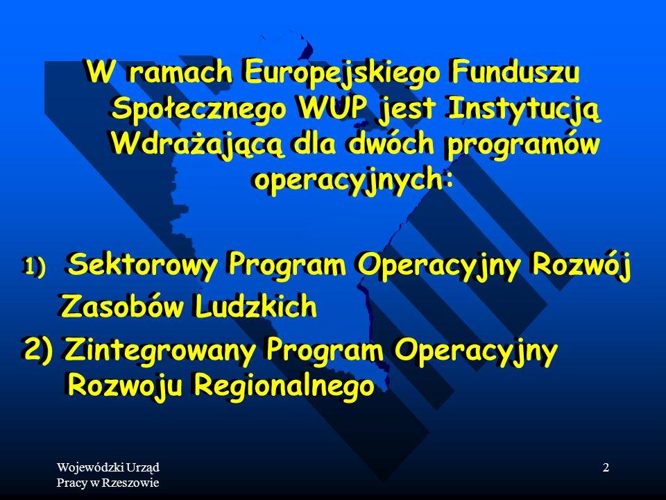 Wojewódzki Urząd Pracy w Rzeszowie 2 W ramach Europejskiego Funduszu Społecznego WUP jest Instytucją Wdrażającą dla dwóch programów operacyjnych: 1) 1) Sektorowy Program Operacyjny Rozwój Zasobów Ludzkich 2) Zintegrowany Program Operacyjny Rozwoju Regionalnego W ramach Europejskiego Funduszu Społecznego WUP jest Instytucją Wdrażającą dla dwóch programów operacyjnych: 1) 1) Sektorowy Program Operacyjny Rozwój Zasobów Ludzkich 2) Zintegrowany Program Operacyjny Rozwoju Regionalnego