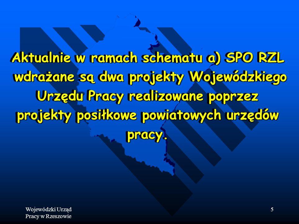 Wojewódzki Urząd Pracy w Rzeszowie 5 Aktualnie w ramach schematu a) SPO RZL wdrażane są dwa projekty Wojewódzkiego wdrażane są dwa projekty Wojewódzkiego Urzędu Pracy realizowane poprzez projekty posiłkowe powiatowych urzędów pracy.