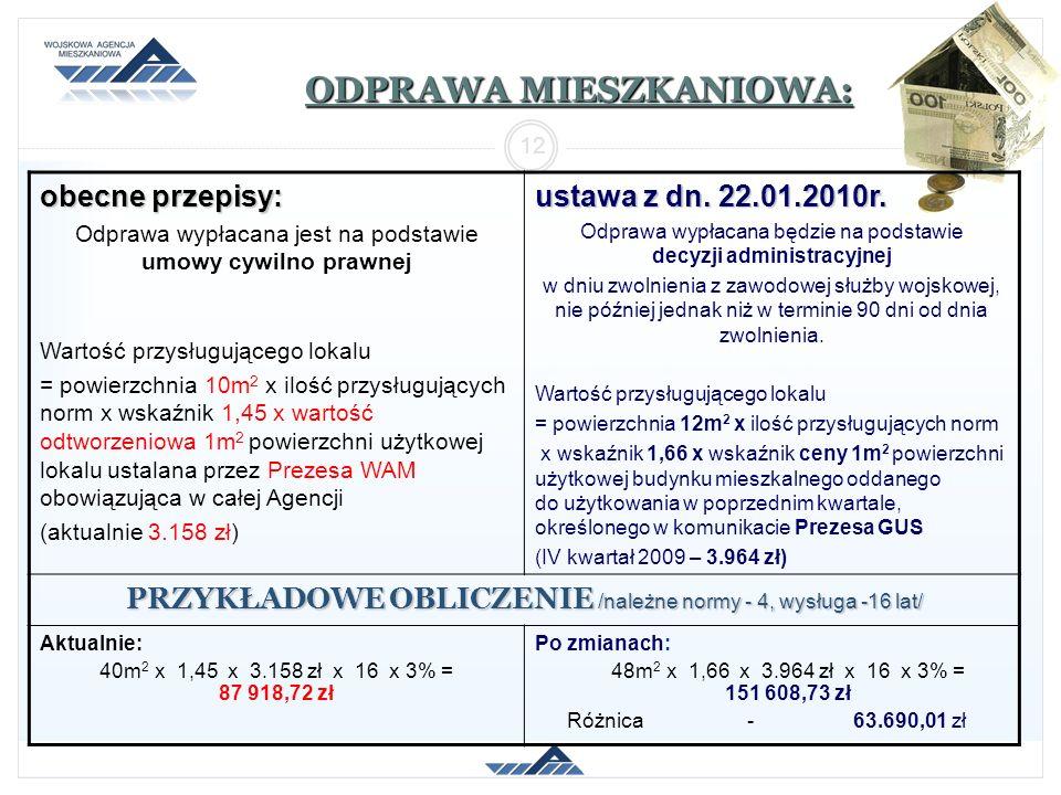 ODPRAWA MIESZKANIOWA: obecne przepisy: Odprawa wypłacana jest na podstawie umowy cywilno prawnej Wartość przysługującego lokalu = powierzchnia 10m 2 x