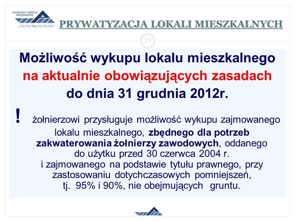 PRYWATYZACJA LOKALI MIESZKALNYCH Możliwość wykupu lokalu mieszkalnego na aktualnie obowiązujących zasadach do dnia 31 grudnia 2012r. ! żołnierzowi prz
