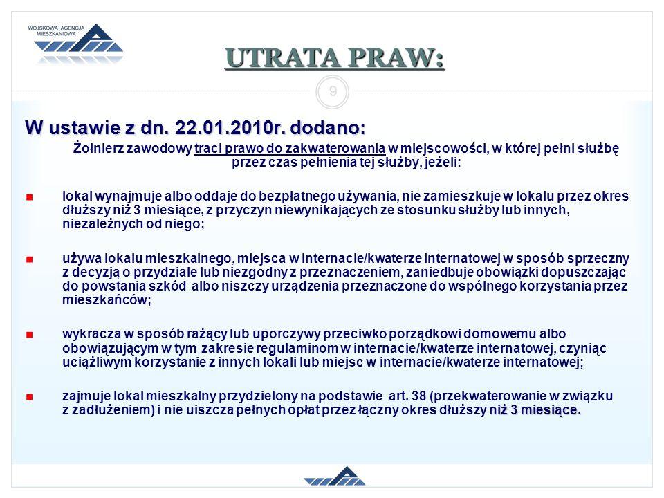 UTRATA PRAW: W ustawie z dn. 22.01.2010r. dodano: Żołnierz zawodowy traci prawo do zakwaterowania w miejscowości, w której pełni służbę przez czas peł