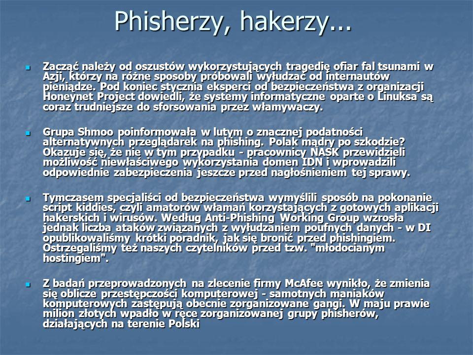 Phisherzy, hakerzy... Zacząć należy od oszustów wykorzystujących tragedię ofiar fal tsunami w Azji, którzy na różne sposoby próbowali wyłudzać od inte