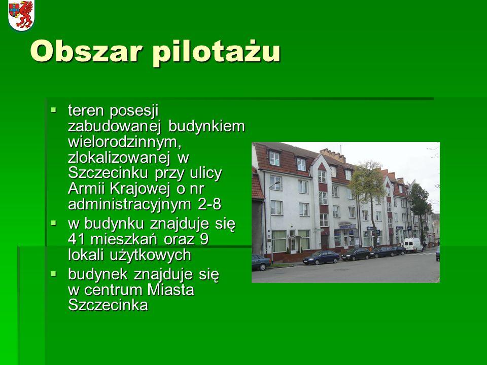Obszar pilotażu teren posesji zabudowanej budynkiem wielorodzinnym, zlokalizowanej w Szczecinku przy ulicy Armii Krajowej o nr administracyjnym 2-8 te