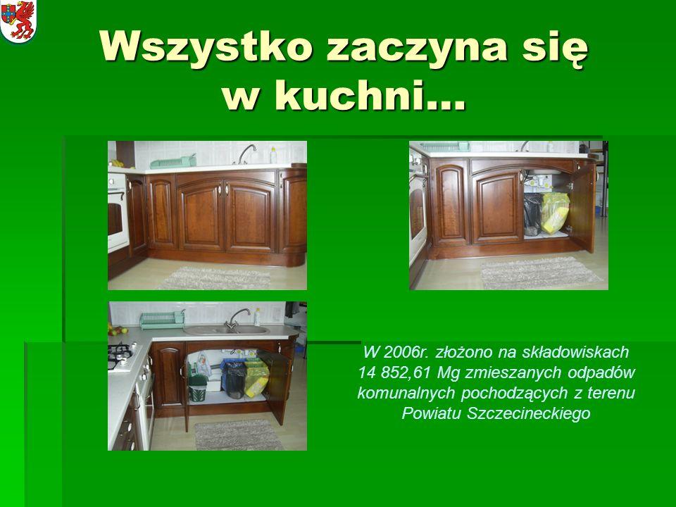 Wszystko zaczyna się w kuchni… W 2006r. złożono na składowiskach 14 852,61 Mg zmieszanych odpadów komunalnych pochodzących z terenu Powiatu Szczecinec