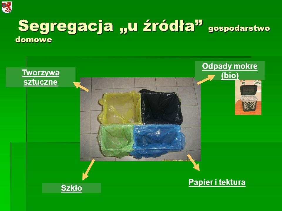 Segregacja u źródła gospodarstwo domowe Segregacja u źródła gospodarstwo domowe Szkło Tworzywa sztuczne Odpady mokre (bio) Papier i tektura