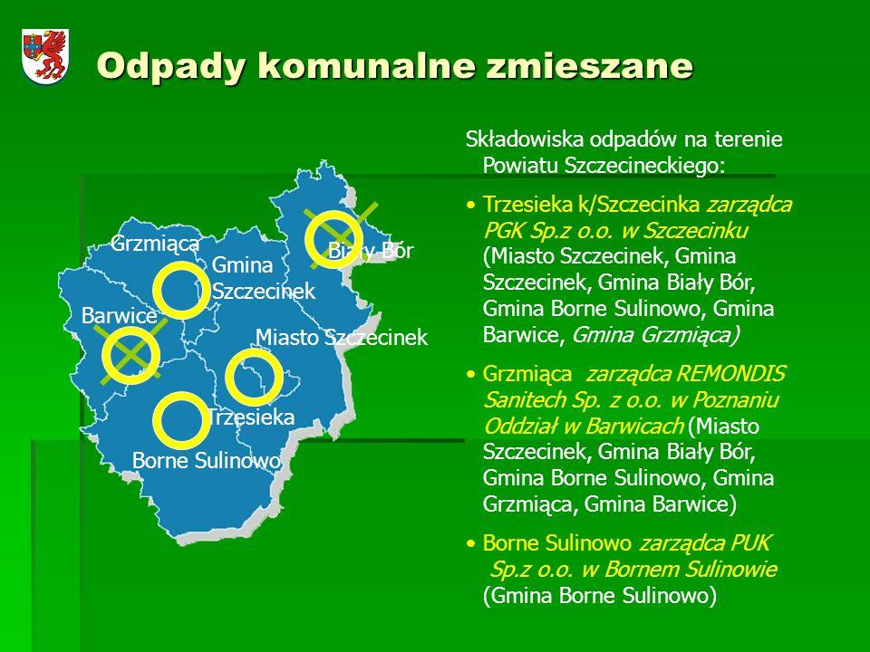 Odpady komunalne zmieszane Miasto Szczecinek Barwice Biały Bór Gmina Szczecinek Trzesieka Borne Sulinowo Grzmiąca Składowiska odpadów na terenie Powia