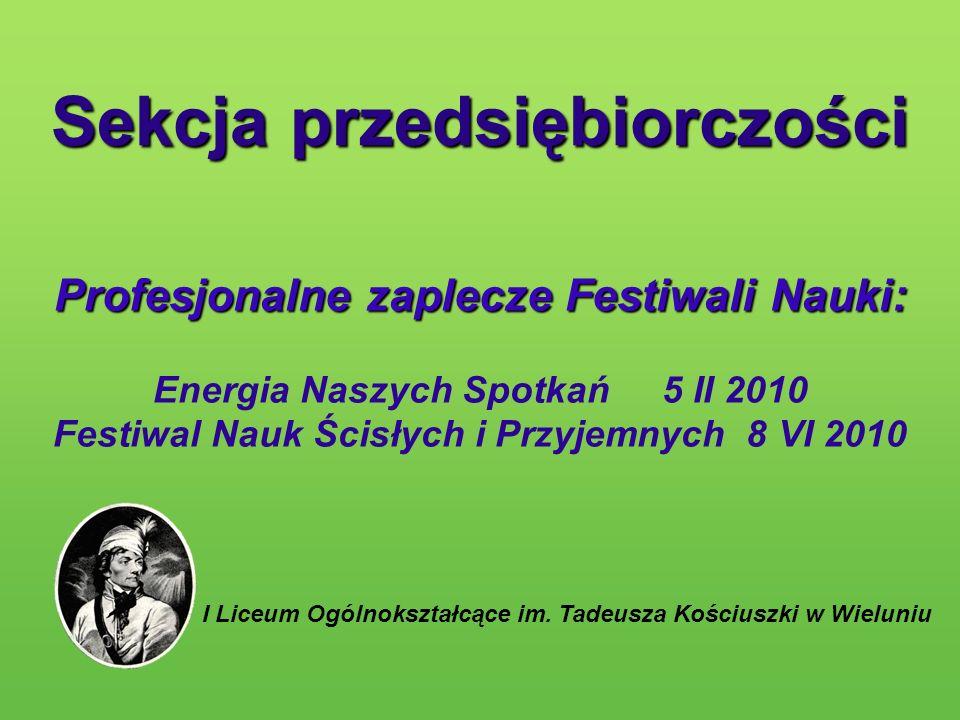 Sekcja przedsiębiorczości Profesjonalne zaplecze Festiwali Nauki: Profesjonalne zaplecze Festiwali Nauki: Energia Naszych Spotkań 5 II 2010 Festiwal N