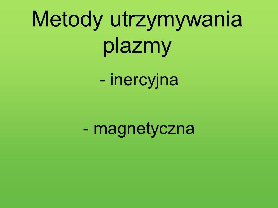 Metody utrzymywania plazmy -inercyjna -magnetyczna