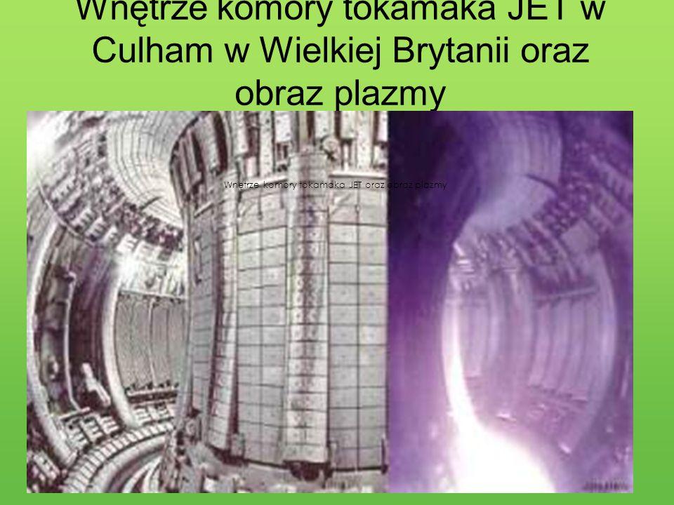 Wnętrze komory tokamaka JET w Culham w Wielkiej Brytanii oraz obraz plazmy Wnętrze komory tokamaka JET oraz obraz plazmy