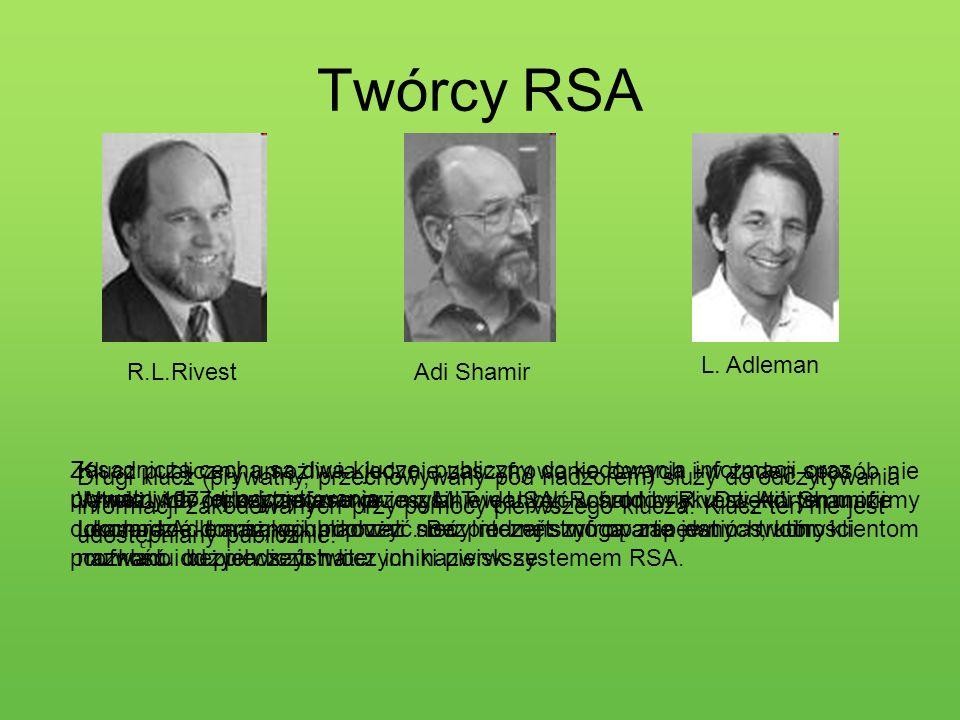 Twórcy RSA R.L.RivestAdi Shamir L. Adleman Klucz publiczny umożliwia jedynie zaszyfrowanie danych i w żaden sposób nie ułatwia ich odczytania, nie mus