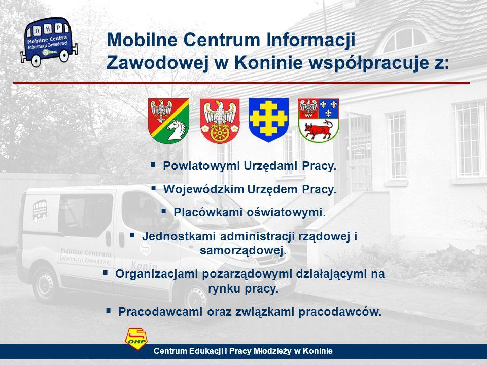 Mobilne Centrum Informacji Zawodowej w Koninie współpracuje z: Powiatowymi Urzędami Pracy.
