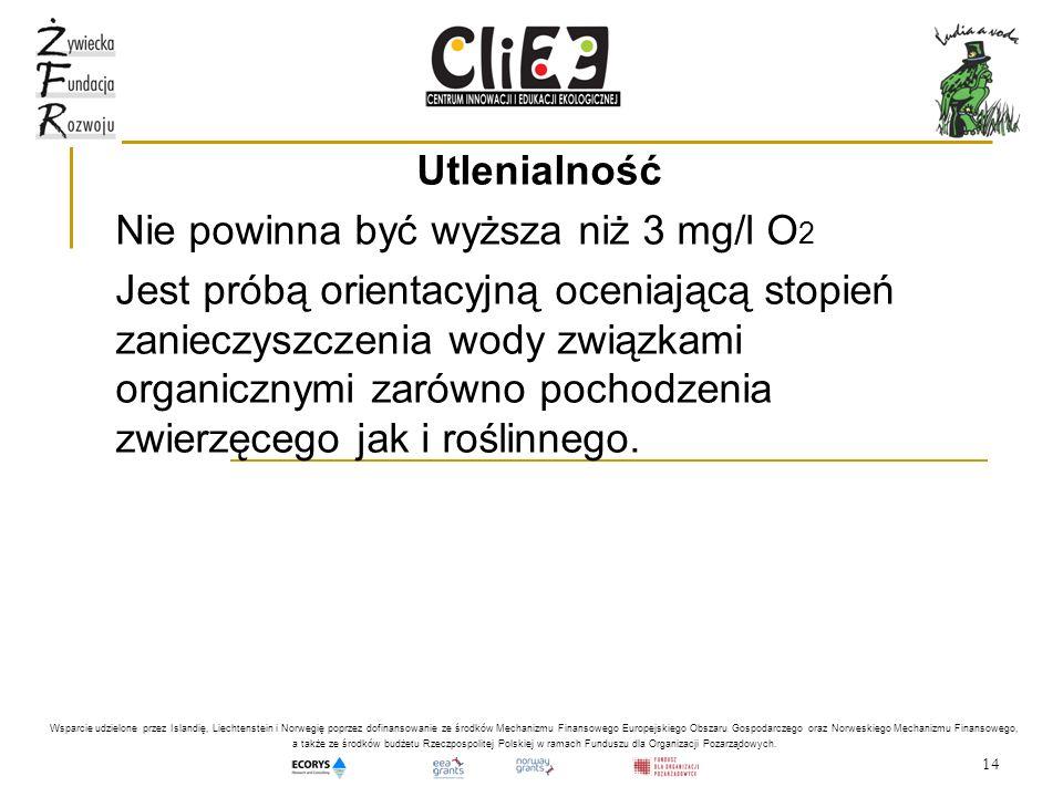 14 Utlenialność Nie powinna być wyższa niż 3 mg/l O 2 Jest próbą orientacyjną oceniającą stopień zanieczyszczenia wody związkami organicznymi zarówno